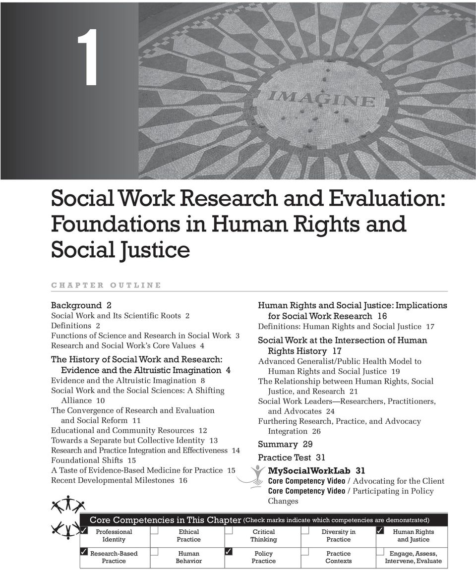 Functions of Science and Research in Social Work 3 Research and Social Work s Core Values 4 The History of Social Work and Research: Evidence and the Altruistic Imagination 4 Evidence and the