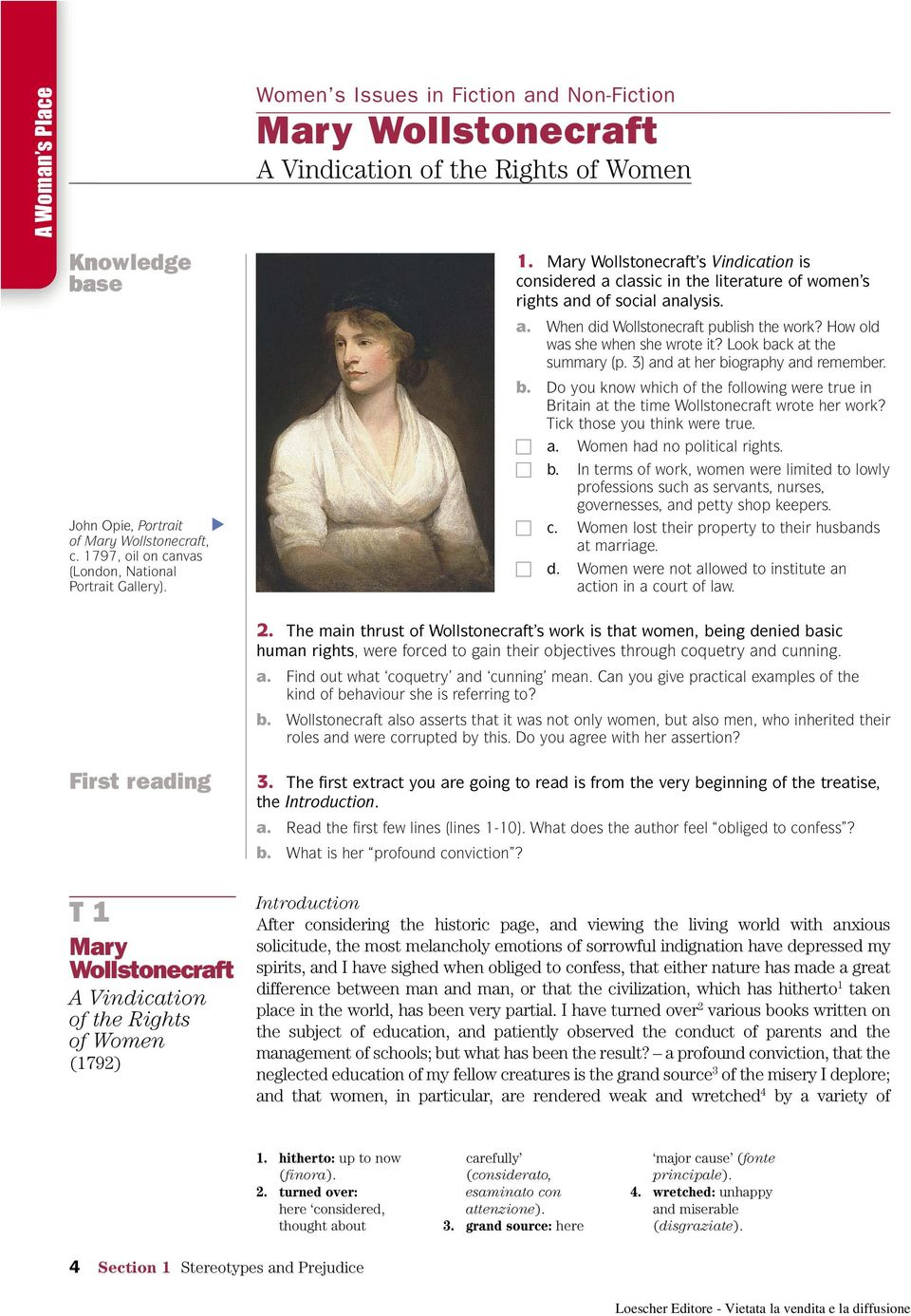 an analysis of the neglected education in a vindication of the rights of women by mary wollstonecraf Dive deep into mary wollstonecraft's a vindication of the rights of woman with extended analysis, commentary, and discussion.