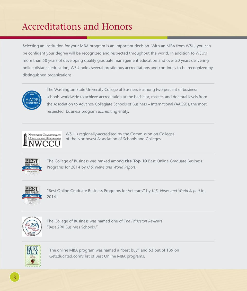 In addition to WSU s more than 50 years of developing quality graduate management education and over 20 years delivering online distance education, WSU holds several prestigious accreditations and