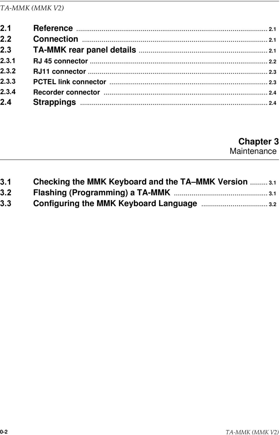 .. 3.1 Flashing (Programming) a TA-MMK... 3.1 Configuring the MMK Keyboard Language... 3.2 0-2
