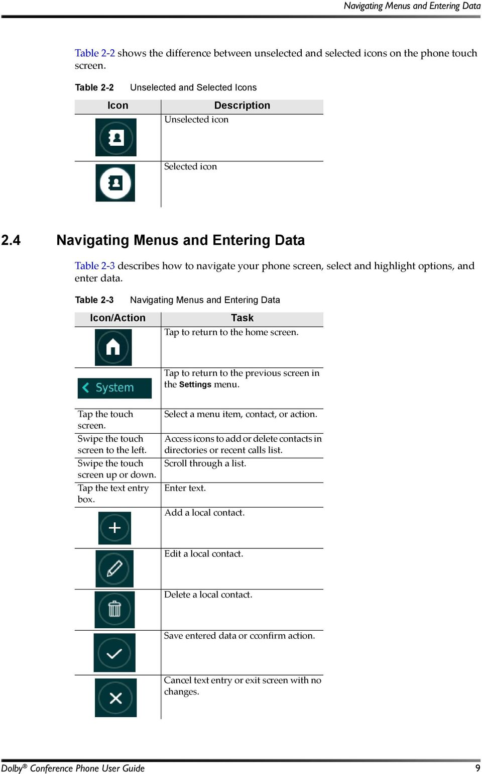 4 Navigating Menus and Entering Data Table 2 3 describes how to navigate your phone screen, select and highlight options, and enter data.
