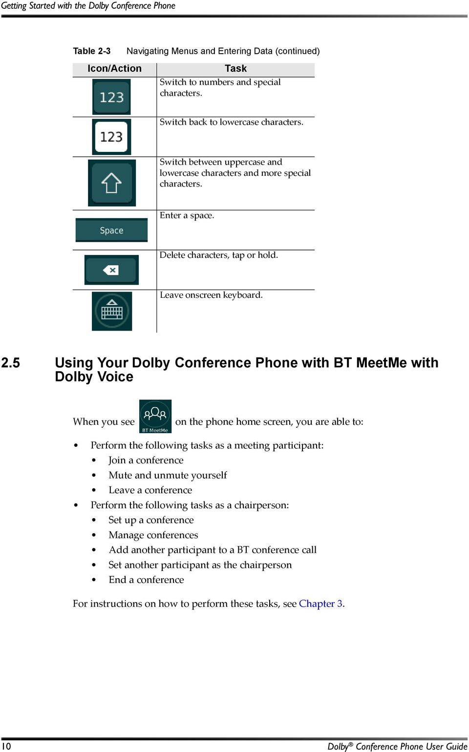 5 Using Your Dolby Conference Phone with BT MeetMe with Dolby Voice When you see on the phone home screen, you are able to: Perform the following tasks as a meeting participant: Join a conference