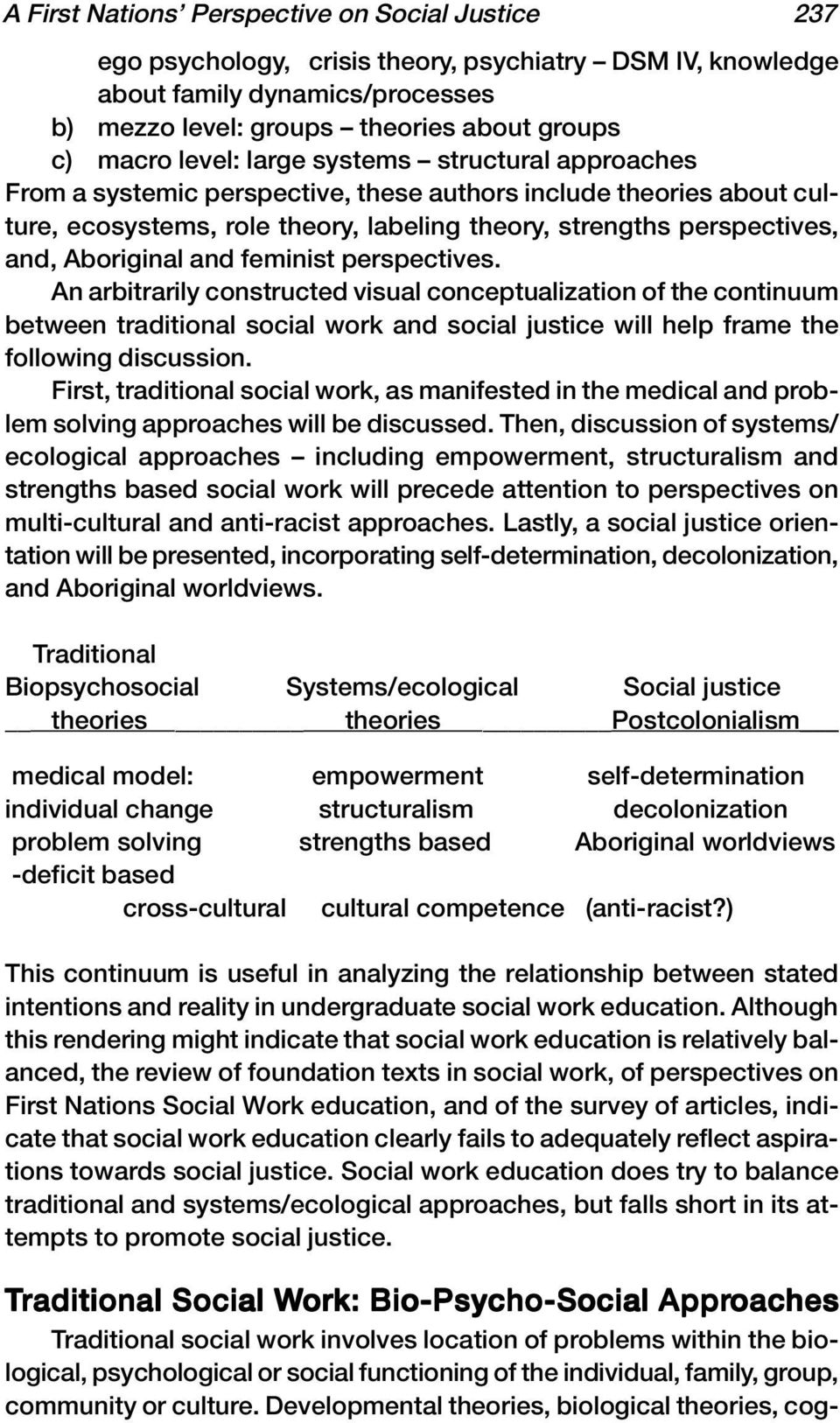 and feminist perspectives. An arbitrarily constructed visual conceptualization of the continuum between traditional social work and social justice will help frame the following discussion.