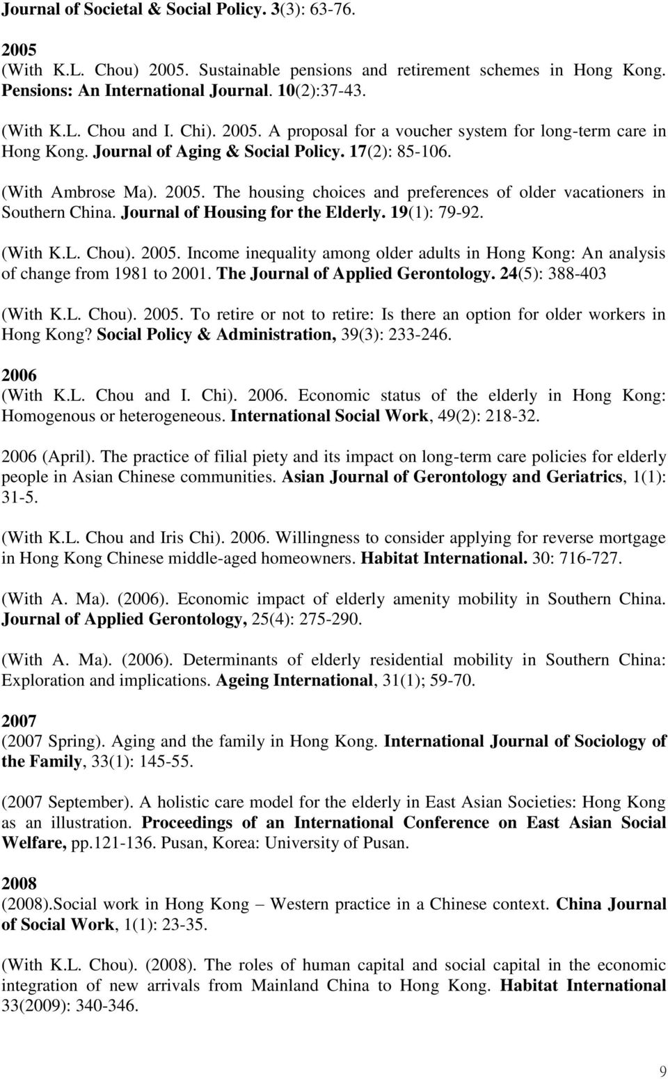 Journal of Housing for the Elderly. 19(1): 79-92. (With K.L. Chou). 2005. Income inequality among older adults in Hong Kong: An analysis of change from 1981 to 2001.