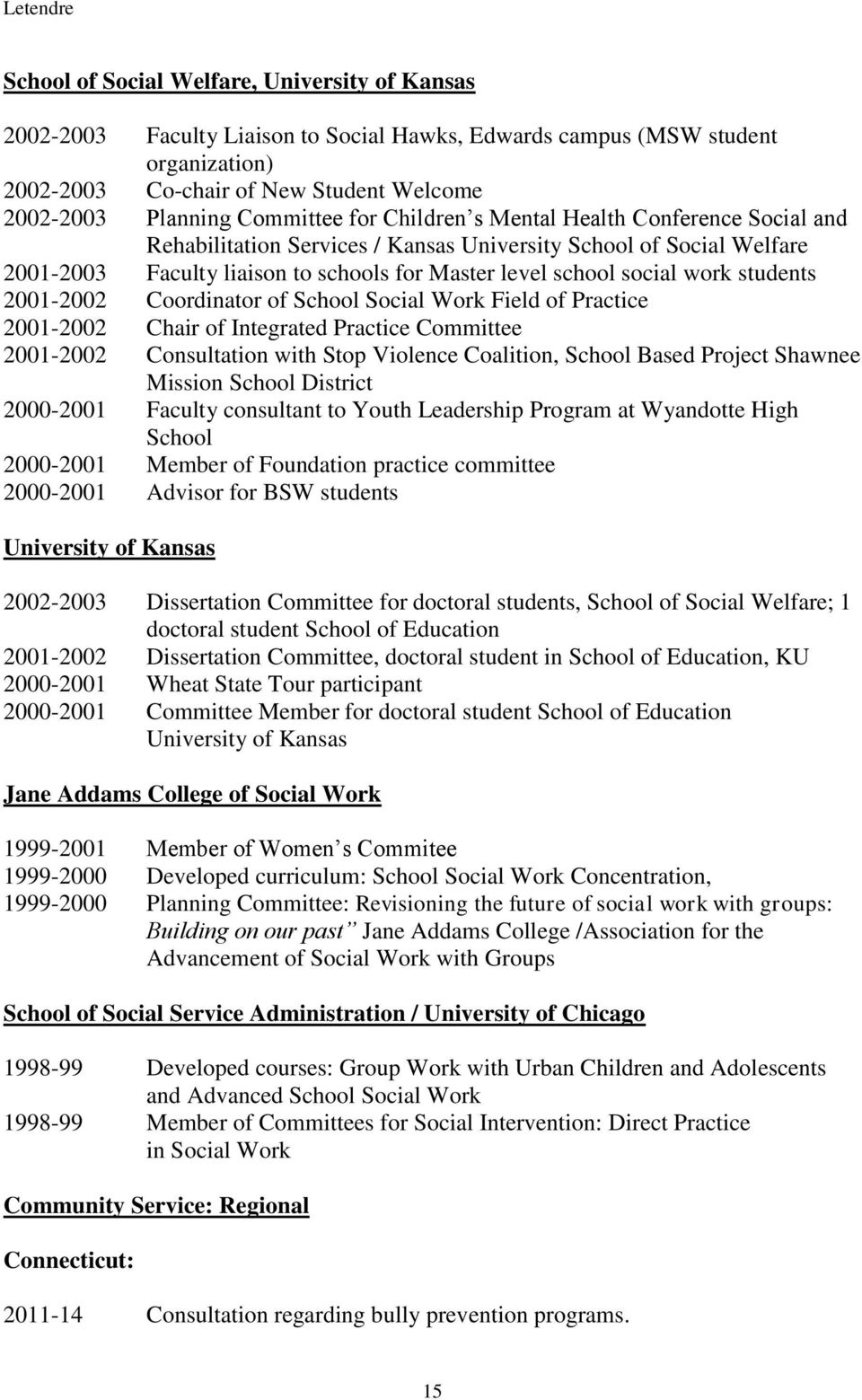work students 2001-2002 Coordinator of School Social Work Field of Practice 2001-2002 Chair of Integrated Practice Committee 2001-2002 Consultation with Stop Violence Coalition, School Based Project