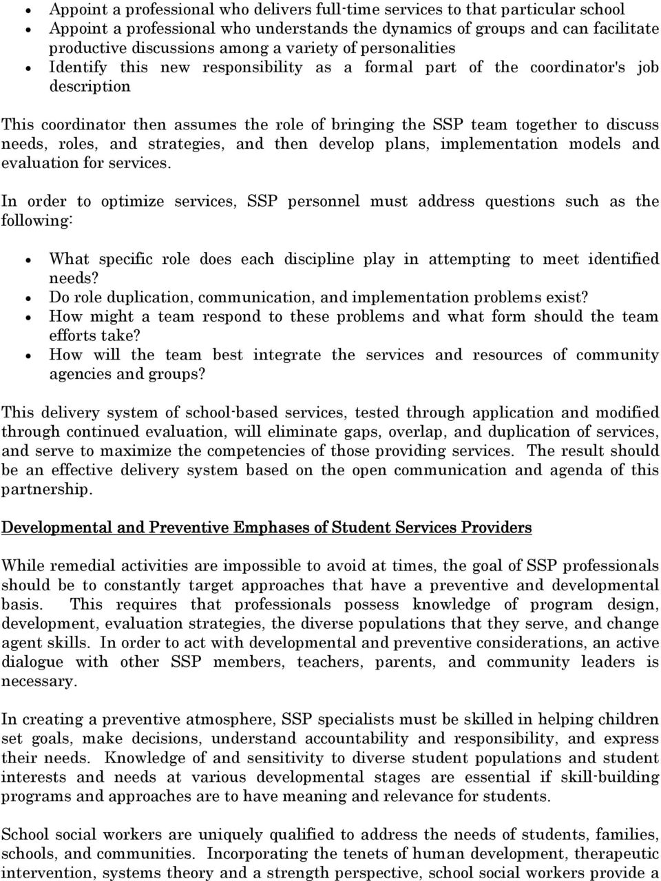 Student Services Providers Recommended Practices Procedures – Social Worker Job Description