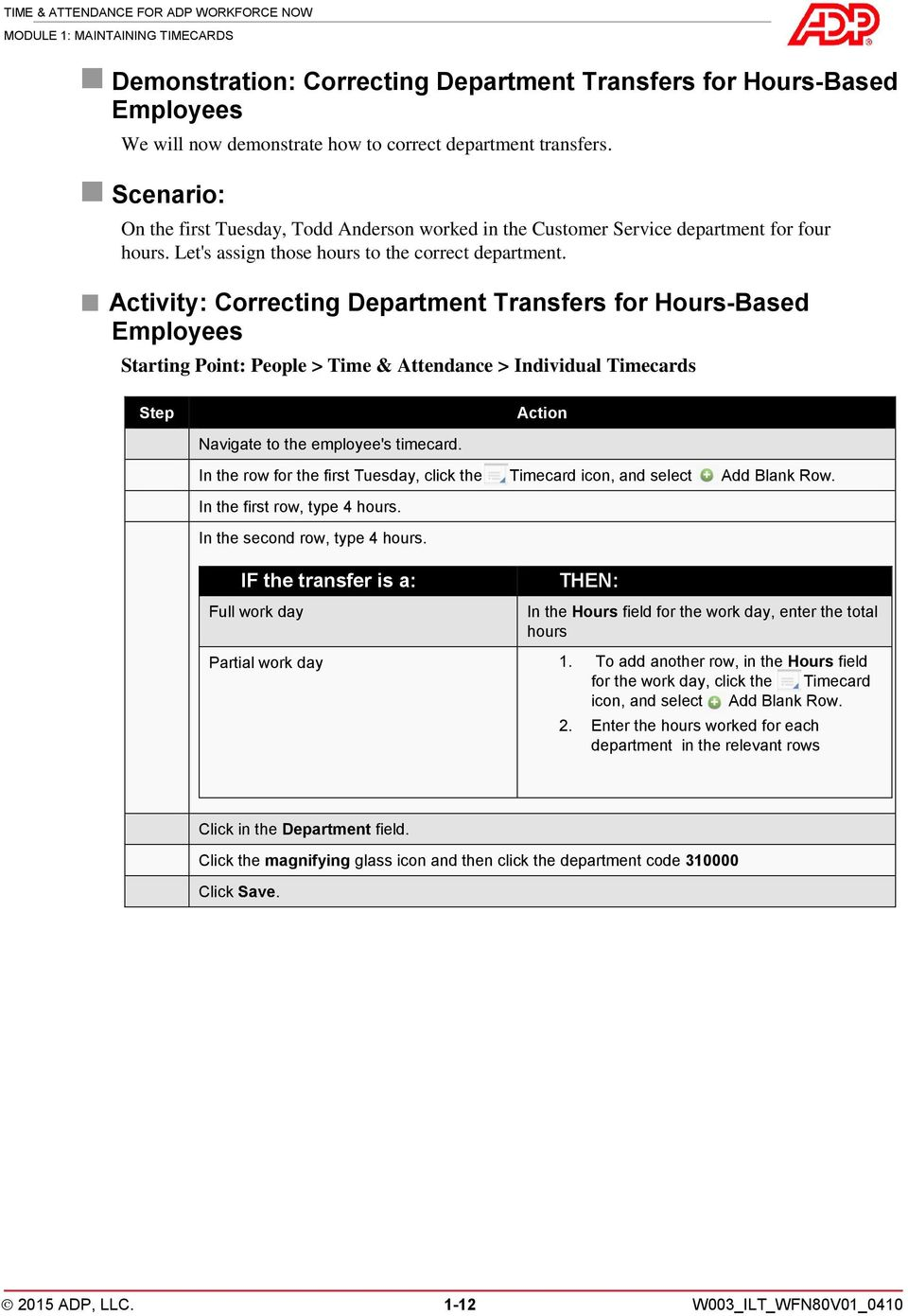 Activity: Correcting Department Transfers for Hours-Based Employees Starting Point: People > Time & Attendance > Individual Timecards Step Action Navigate to the employee's timecard.