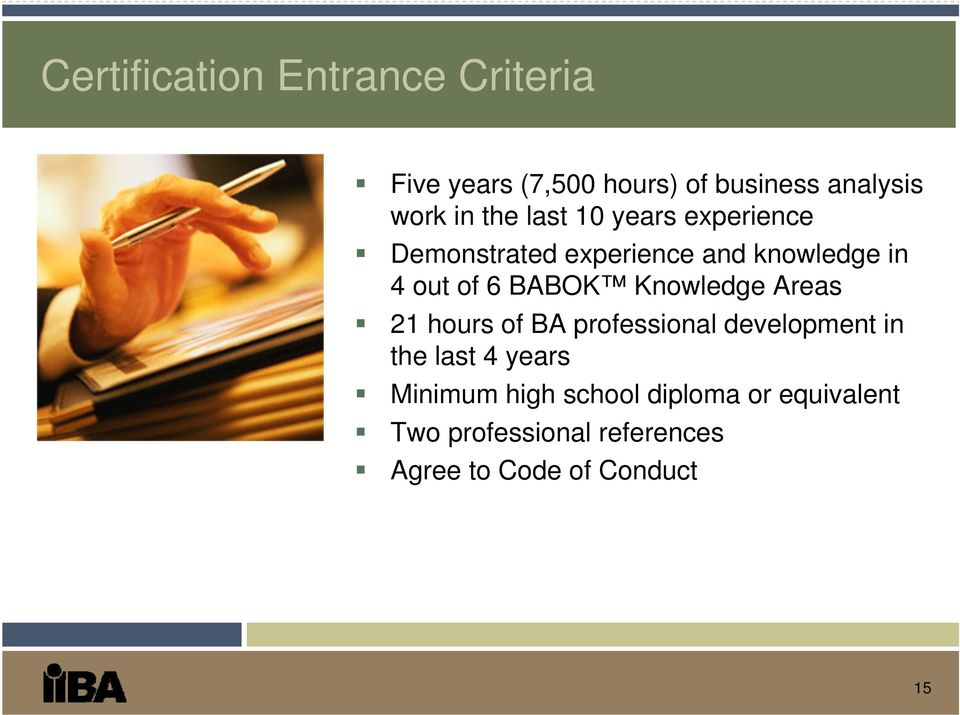 Knowledge Areas 21 hours of BA professional development in the last 4 years Minimum