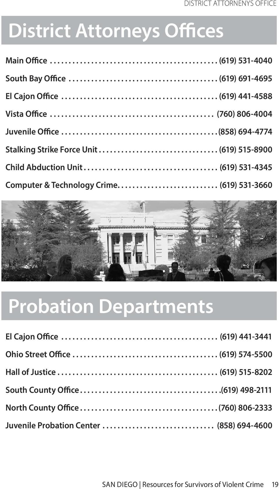 ...(619) 531-3660 Probation Departments El Cajon Office...(619) 441-3441 Ohio Street Office...(619) 574-5500 Hall of Justice...(619) 515-8202 South County Office.