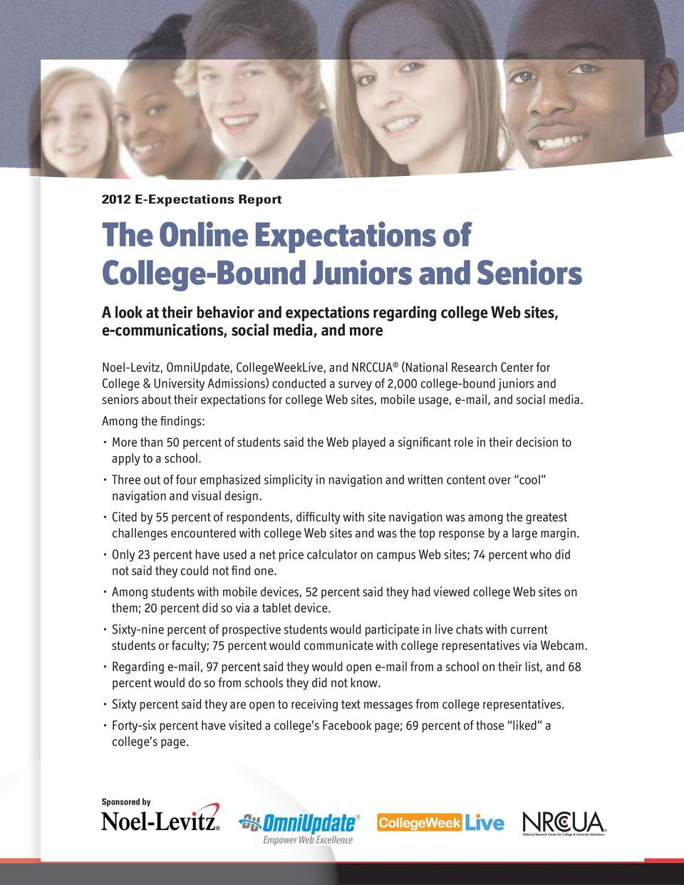 expectations for college Web sites, mobile usage, e-mail, and social media.