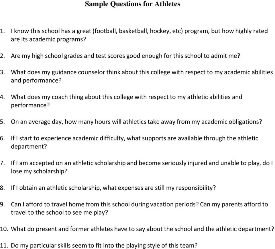 What does my coach thing about this college with respect to my athletic abilities and performance? 5. On an average day, how many hours will athletics take away from my academic obligations? 6.