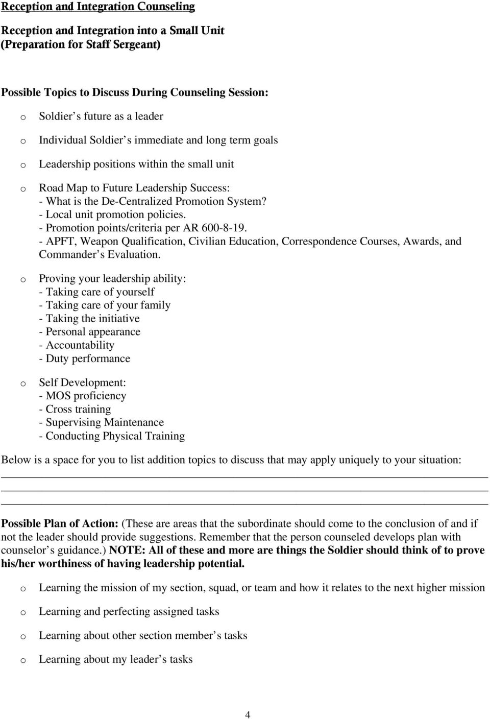 Department of The Army Inspector General Counseling Guide PDF – Hrc Promotion Point Worksheet