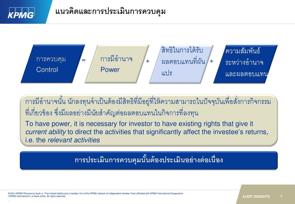 have power, it is necessary for investor to have existing rights that give it current ability to direct the activities that significantly affect the