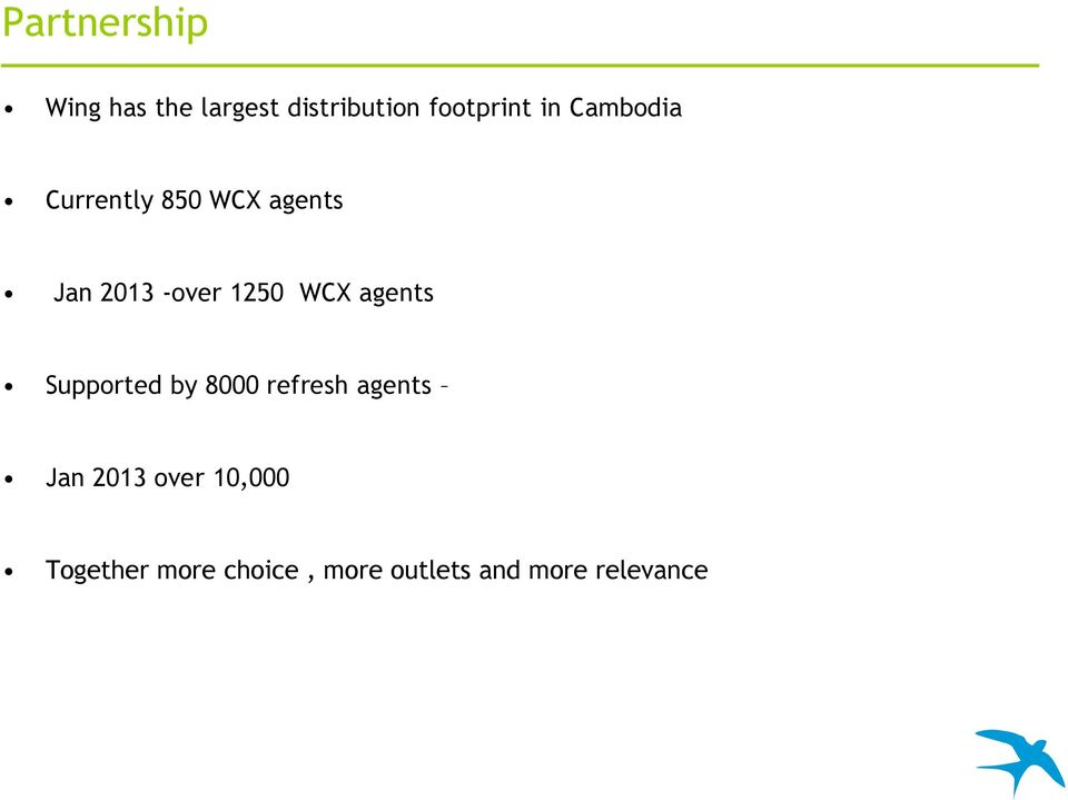 WCX agents Supported by 8000 refresh agents Jan 203 over