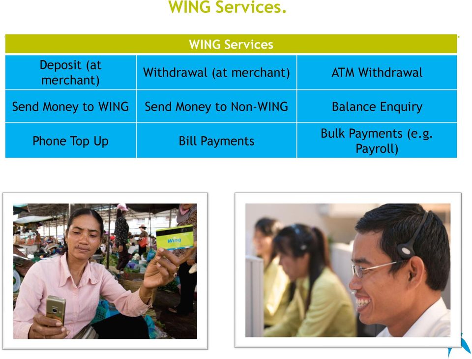 Send Money to WING Send Money to Non-WING Balance