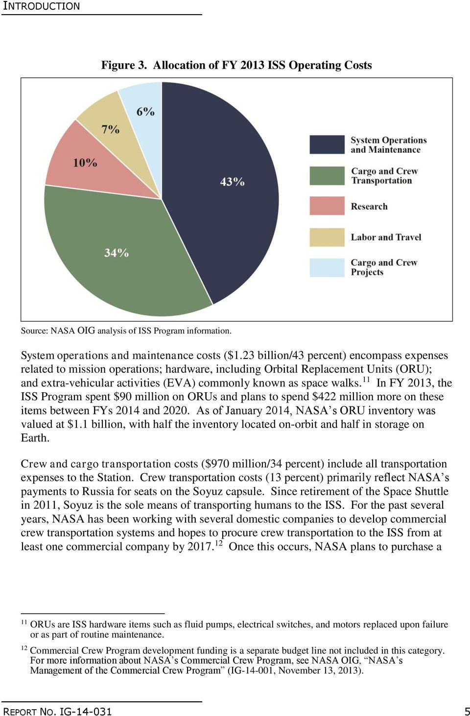 11 In FY 2013, the ISS Program spent $90 million on ORUs and plans to spend $422 million more on these items between FYs 2014 and 2020. As of January 2014, NASA s ORU inventory was valued at $1.
