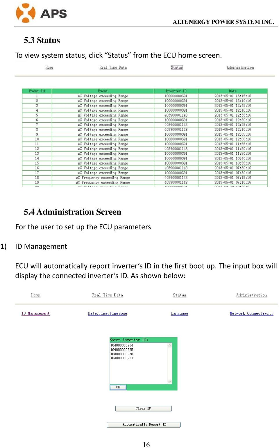 4 Administration Screen For the user to set up the ECU parameters 1) ID