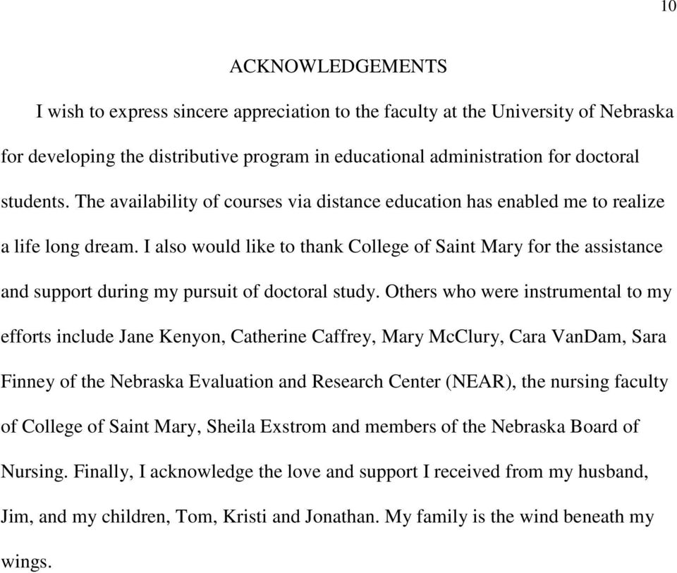 I also would like to thank College of Saint Mary for the assistance and support during my pursuit of doctoral study.