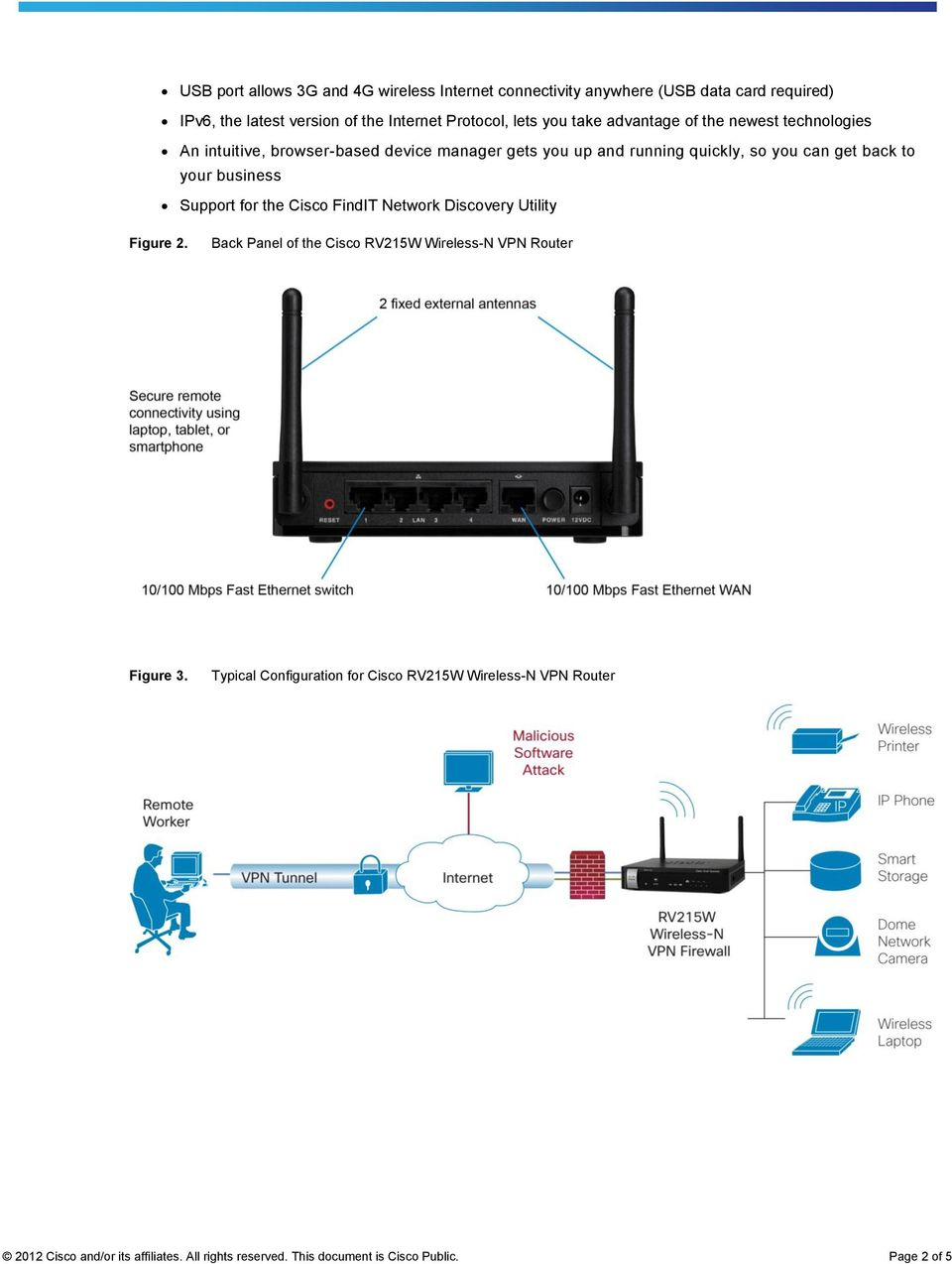 your business Support for the Cisco FindIT Network Discovery Utility Figure 2. Back Panel of the Cisco RV215W Wireless-N VPN Router Figure 3.