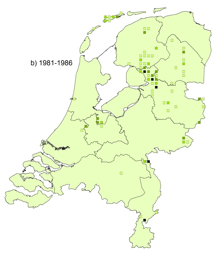 Figure 2.1: Distribution of Boloria selene in the Netherlands. a) Up to 1980 and b) 1981-1986.