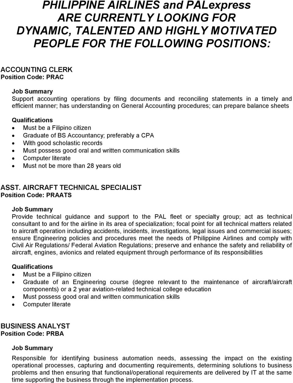philippine airlines and palexpress are currently looking for graduate of bs accountancy preferably a cpa good scholastic records must possess good oral