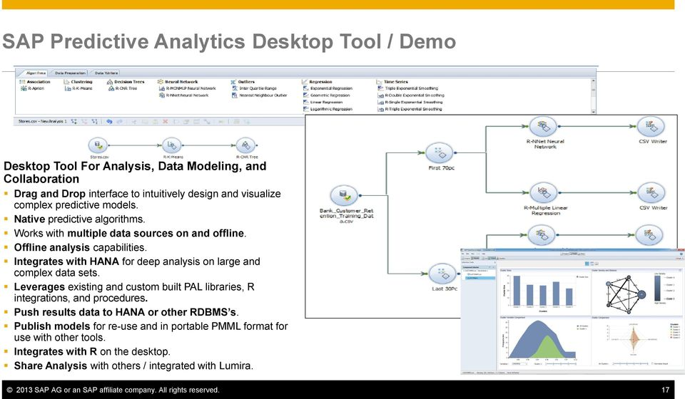 Integrates with HANA for deep analysis on large and complex data sets. Leverages existing and custom built PAL libraries, R integrations, and procedures.