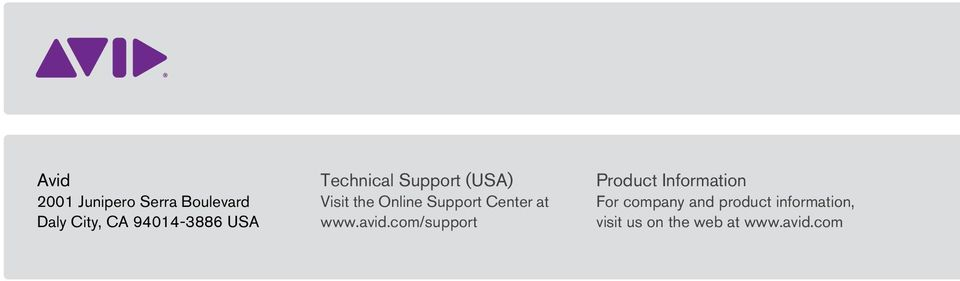 Support Center at www.avid.
