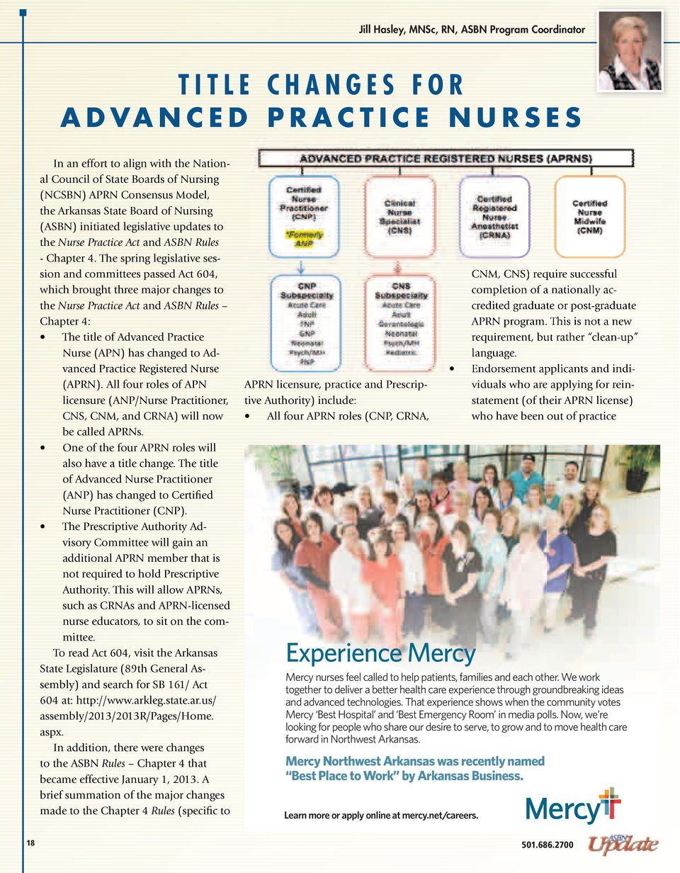The spring legislative session and committees passed Act 604, which brought three major changes to the Nurse Practice Act and ASBN Rules Chapter 4: The title of Advanced Practice Nurse (APN) has