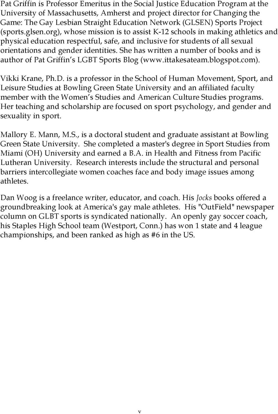 sexual orientation and gender identity in sport essays from org whose mission is to assist k 12 schools in making athletics and