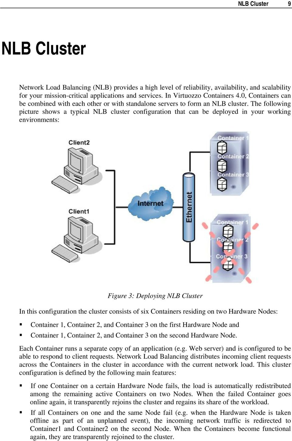 The following picture shows a typical NLB cluster configuration that can be deployed in your working environments: Figure 3: Deploying NLB Cluster In this configuration the cluster consists of six