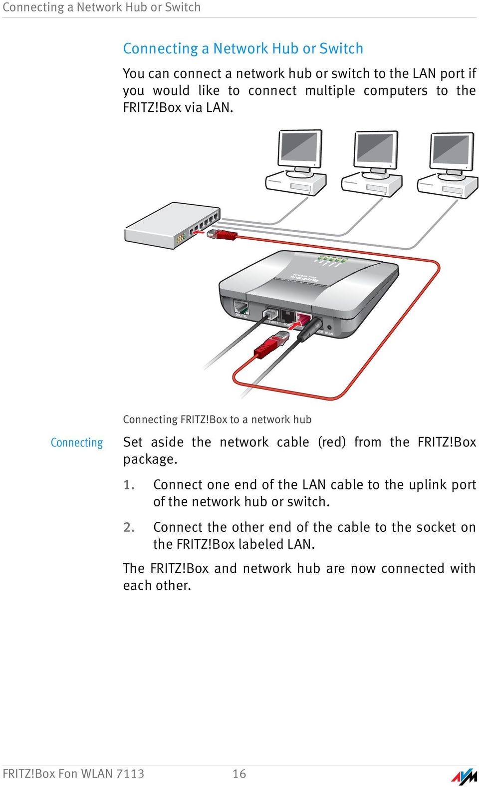 Box to a network hub Set aside the network cable (red) from the FRITZ!Box package. 1.