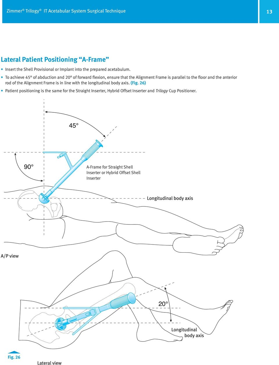 To achieve 45 of abduction and 20 of forward flexion, ensure that the Alignment Frame is parallel to the floor and the anterior rod of the