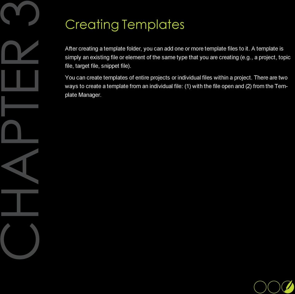 You can create templates of entire projects or individual files within a project.