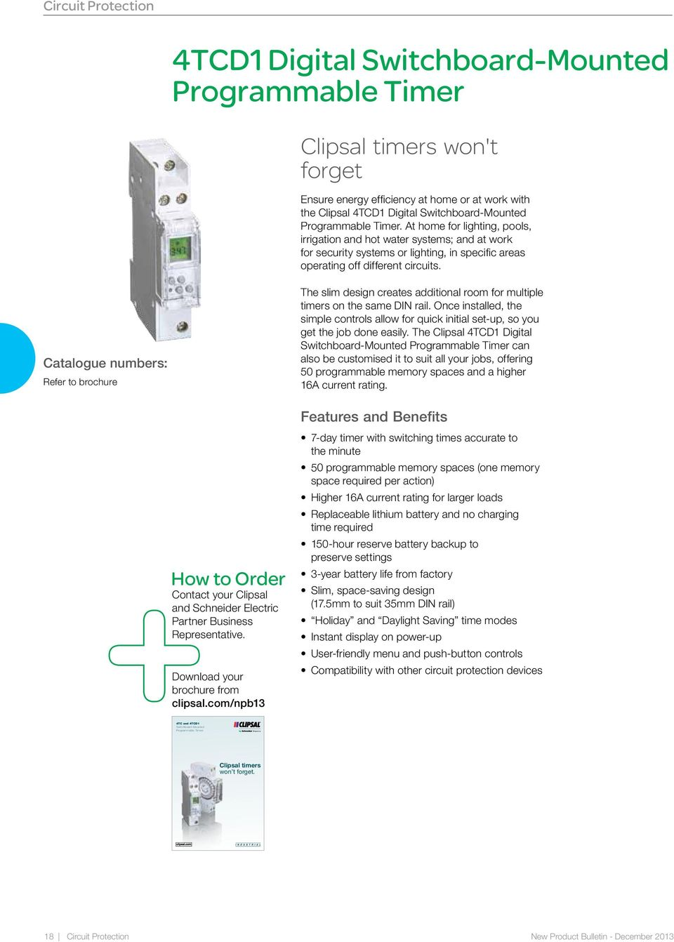 Refer To Brochure The Slim Design Creates Additional Room For Multiple  Timers On The Same Din