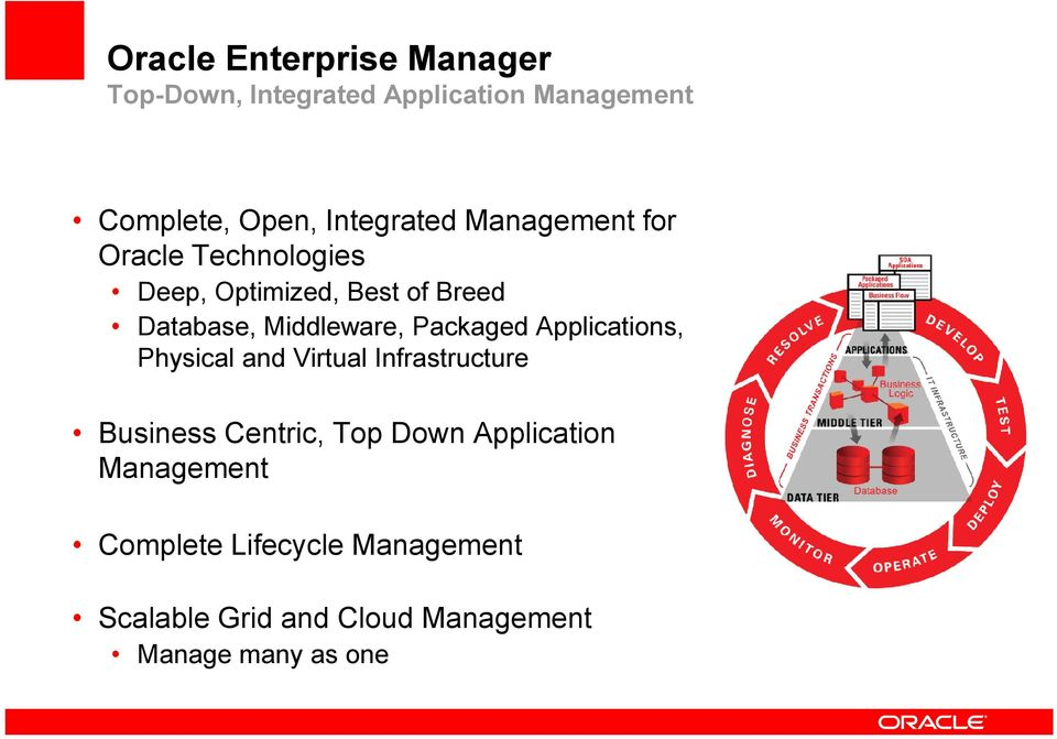 Middleware, Packaged Applications, Physical and Virtual Infrastructure Business Centric, Top