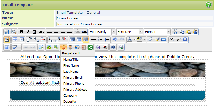 Adding Registrant and Sales Rep Information Tokens The Lasso Email Template Editor allows you to insert tokens into your Email Template that will automatically pull Registrant or Sales Rep