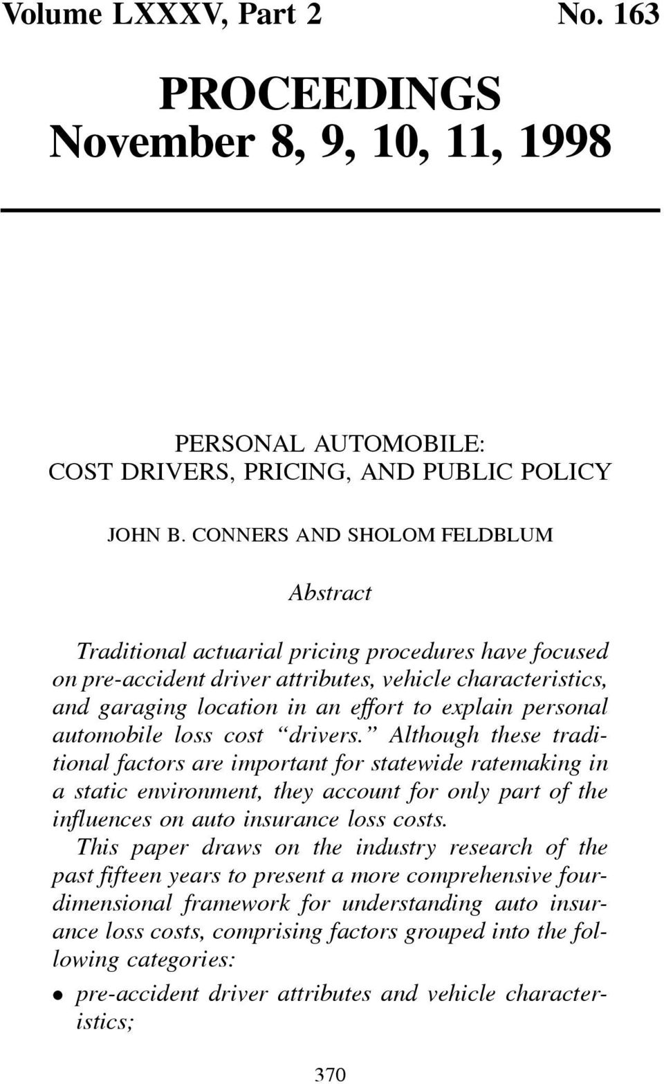 personal automobile loss cost drivers.