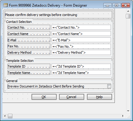 Bespoke Contacts and Company Types: Contacts Figure 43 - Zetadocs Delivery Form tbcontname textbox 5.