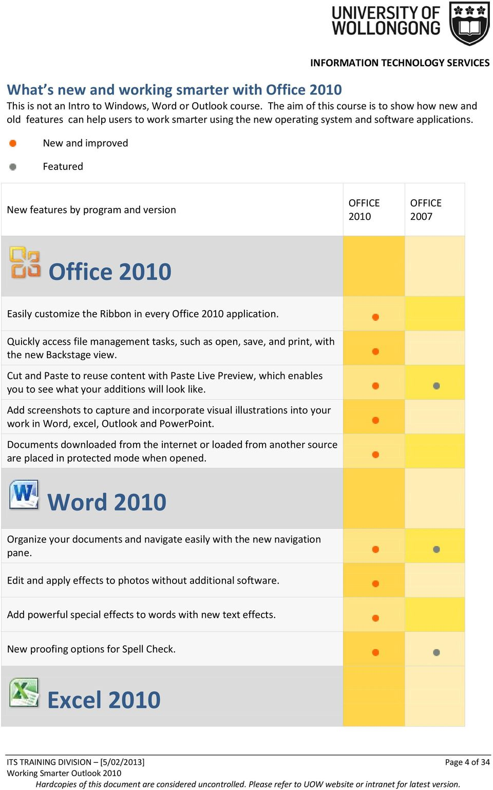 New and improved Featured New features by program and version OFFICE 2010 OFFICE 2007 Office 2010 Easily customize the Ribbon in every Office 2010 application.