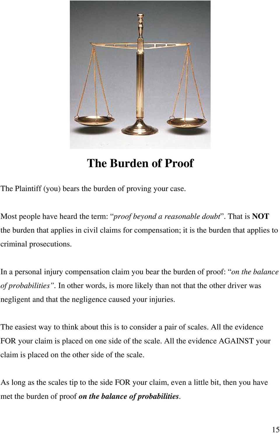 In a personal injury compensation claim you bear the burden of proof: on the balance of probabilities.