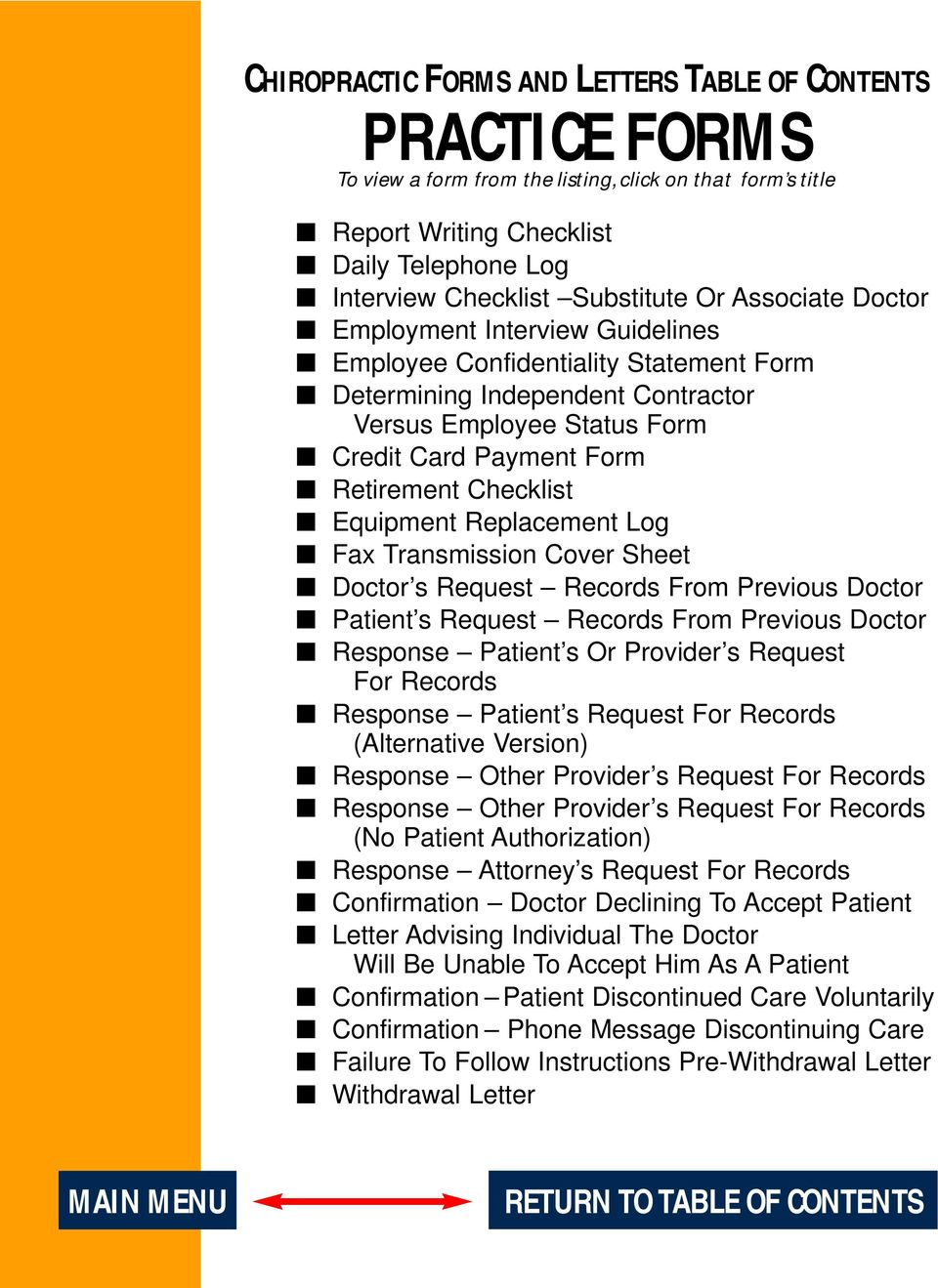 Checklist Equipment Replacement Log Fax Transmission Cover Sheet Doctor s Request Records From Previous Doctor Patient s Request Records From Previous Doctor Response Patient s Or Provider s Request
