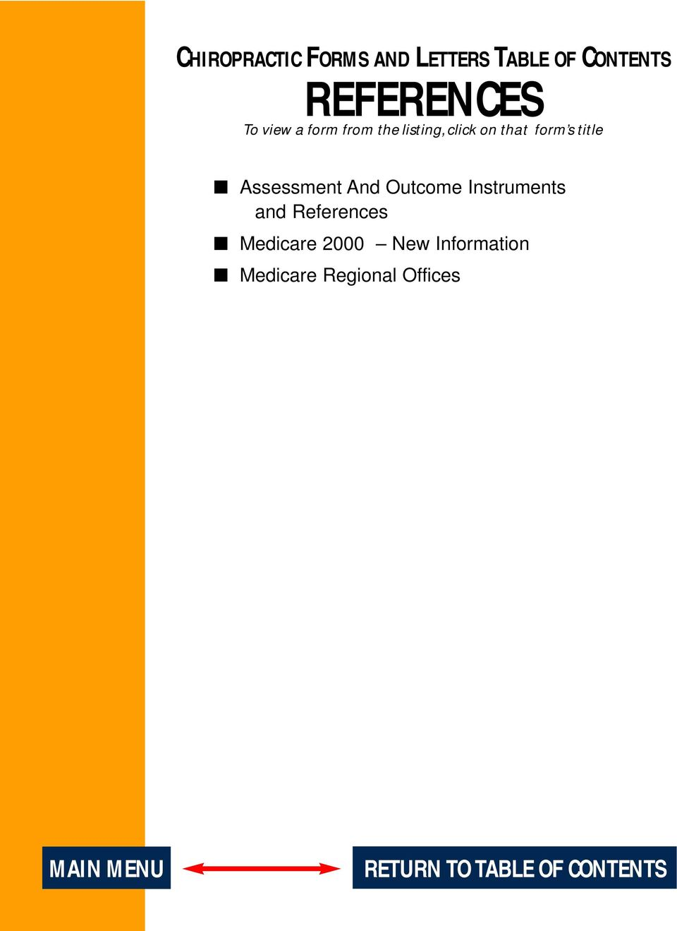 Assessment And Outcome Instruments and References Medicare 2000
