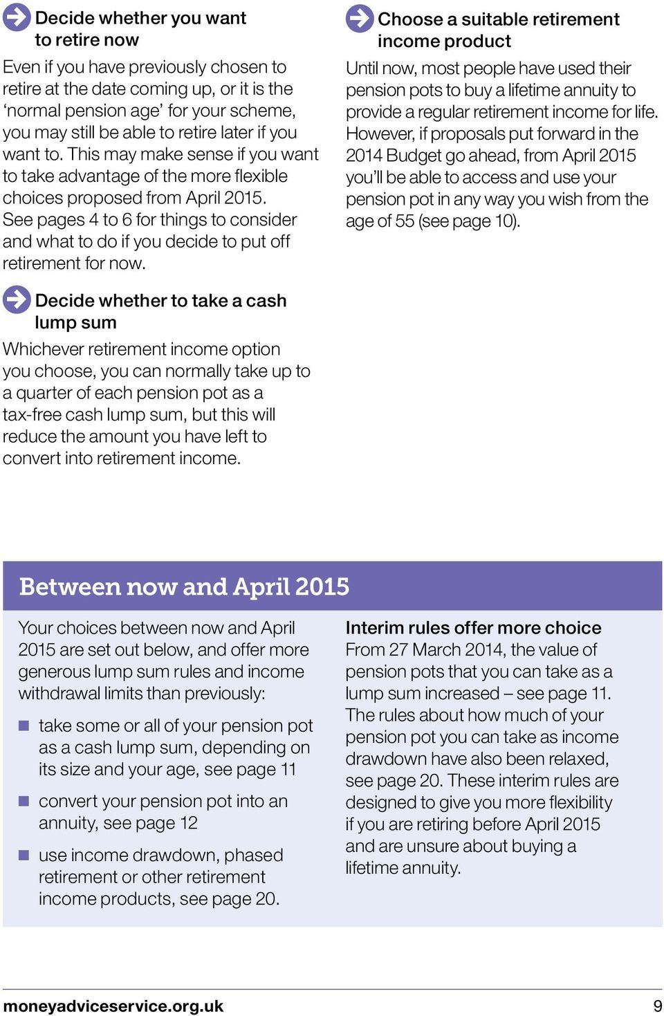 See pages 4 to 6 for things to consider and what to do if you decide to put off retirement for now.