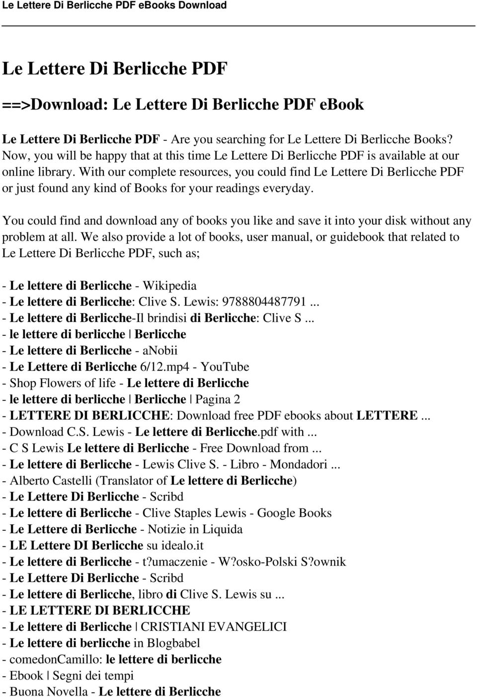 With Ourplete Resources, You Could Find Le Lettere Di Berlicche Pdf Or  Just Found