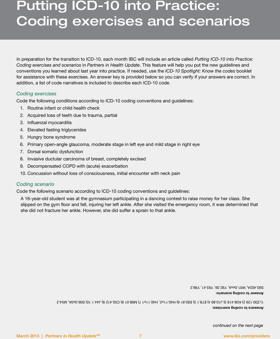 worksheet Icd 10 Practice Worksheets putting icd 10 into practice coding exercises and scenarios pdf if needed use the spotlight know codes booklet for assistance