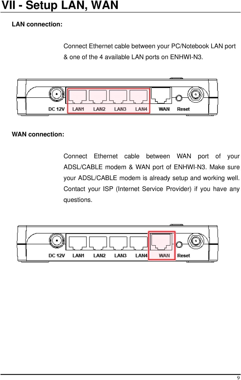 WAN connection: Connect Ethernet cable between WAN port of your ADSL/CABLE modem & WAN port of