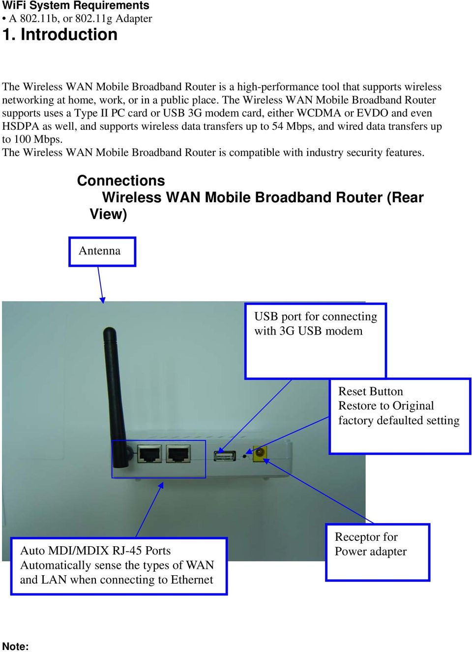 The Wireless WAN Mobile Broadband Router supports uses a Type II PC card or USB 3G modem card, either WCDMA or EVDO and even HSDPA as well, and supports wireless data transfers up to 54 Mbps, and