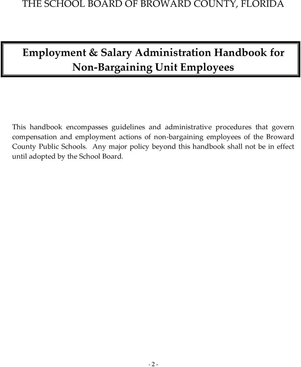 that govern compensation and employment actions of non-bargaining employees of the Broward County