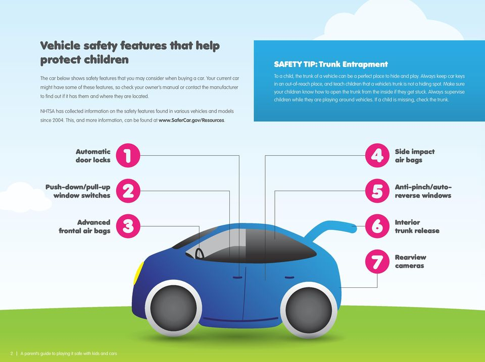 SAFETY TIP: Trunk Entrapment To a child, the trunk of a vehicle can be a perfect place to hide and play.