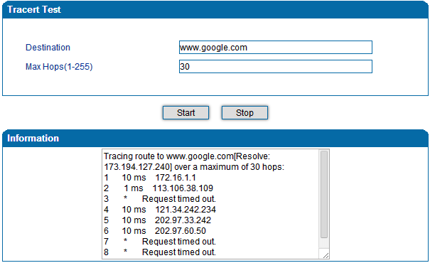Tracert introduce: Click tracert test. Fill IP address or domain connected, click start. Figure 4.14.